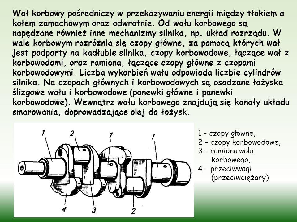 Wał korbowy pośredniczy w przekazywaniu energii między tłokiem a kołem zamachowym oraz odwrotnie. Od wału korbowego są napędzane również inne mechanizmy silnika, np. układ rozrządu. W wale korbowym rozróżnia się czopy główne, za pomocą których wał jest podparty na kadłubie silnika, czopy korbowodowe, łączące wał z korbowodami, oraz ramiona, łączące czopy główne z czopami korbowodowymi. Liczba wykorbień wału odpowiada liczbie cylindrów silnika. Na czopach głównych i korbowodowych są osadzane łożyska ślizgowe wału i korbowodowe (panewki główne i panewki korbowodowe). Wewnątrz wału korbowego znajdują się kanały układu smarowania, doprowadzające olej do łożysk.