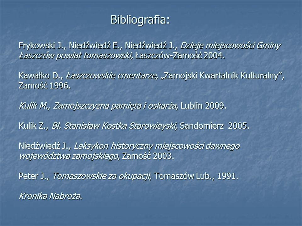 Bibliografia: Frykowski J. , Niedźwiedź E. , Niedźwiedź J