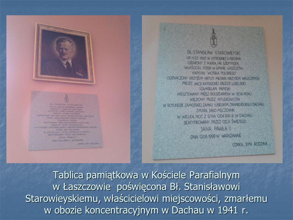 Tablica pamiątkowa w Kościele Parafialnym w Łaszczowie poświęcona Bł
