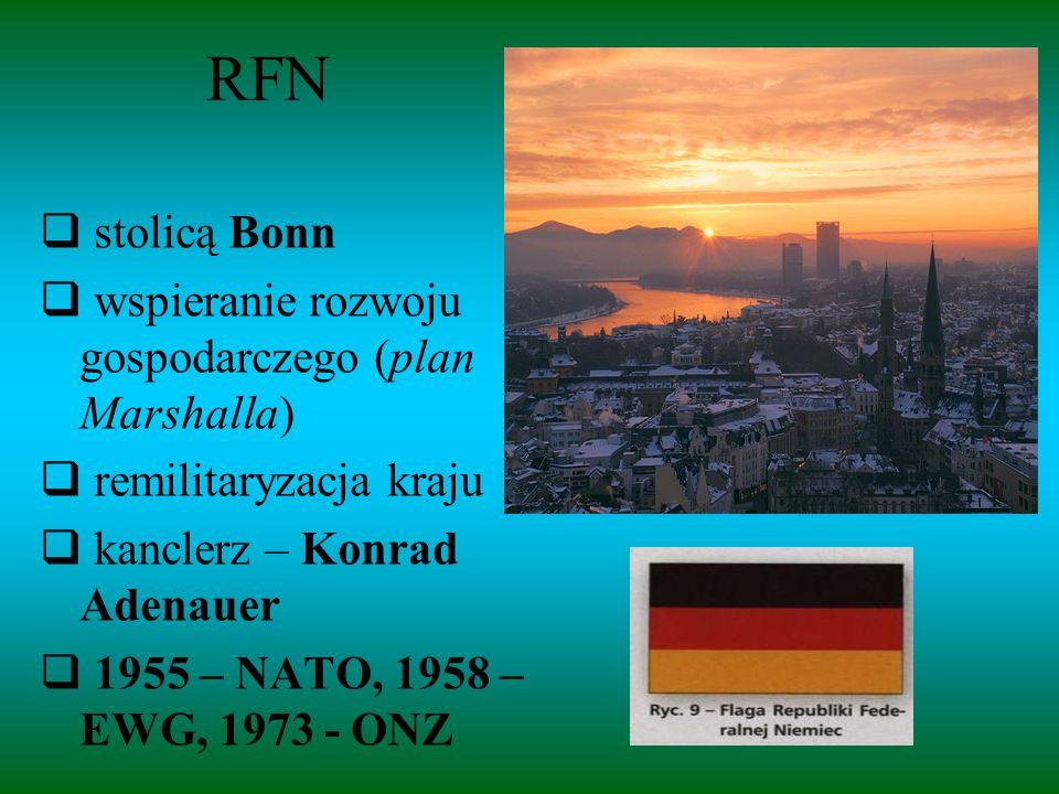 RFN stolicą Bonn wspieranie rozwoju gospodarczego (plan Marshalla)