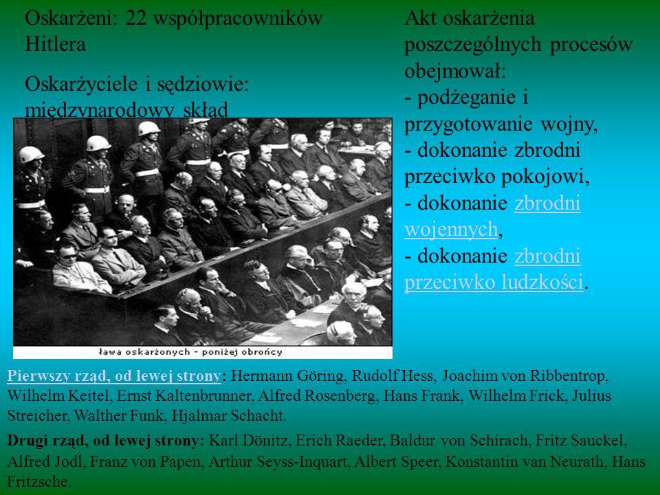 Oskarżeni: 22 współpracowników Hitlera