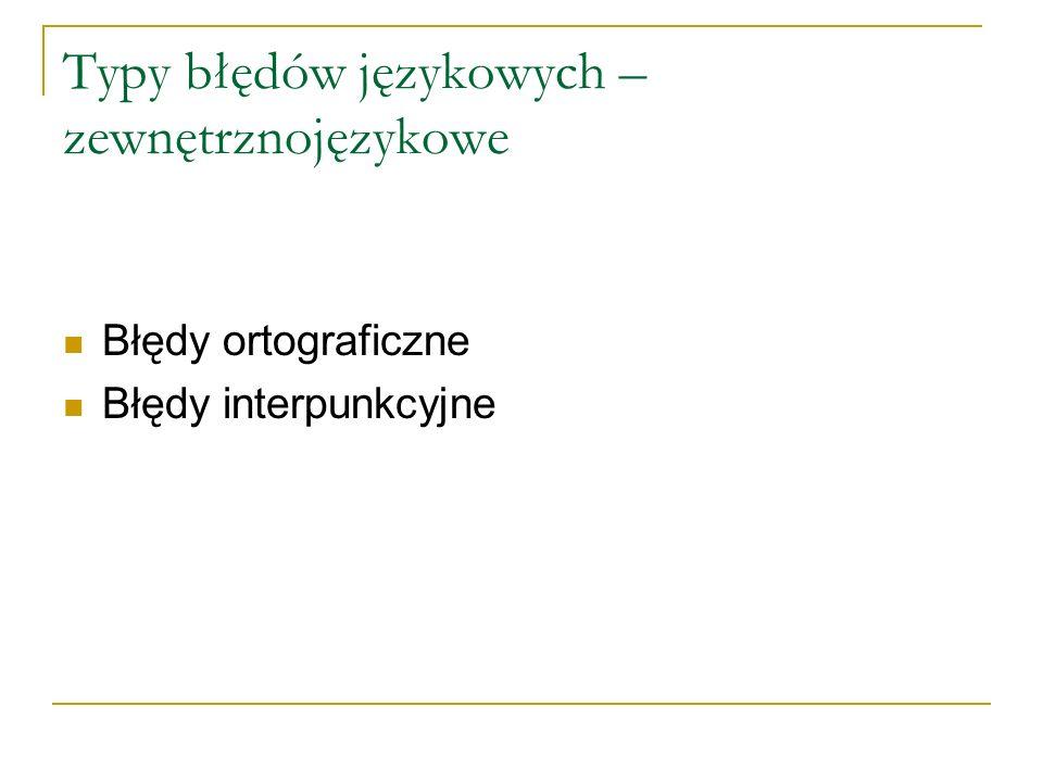 Typy błędów językowych – zewnętrznojęzykowe