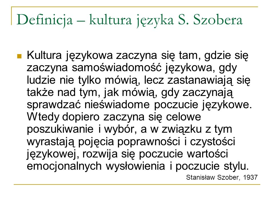 Definicja – kultura języka S. Szobera