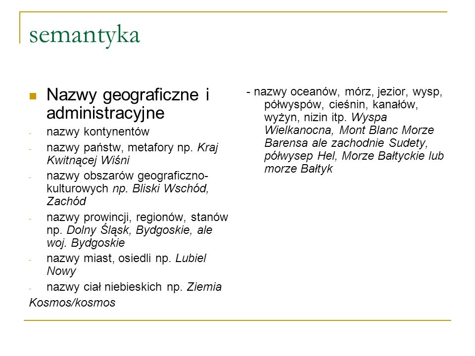 semantyka Nazwy geograficzne i administracyjne