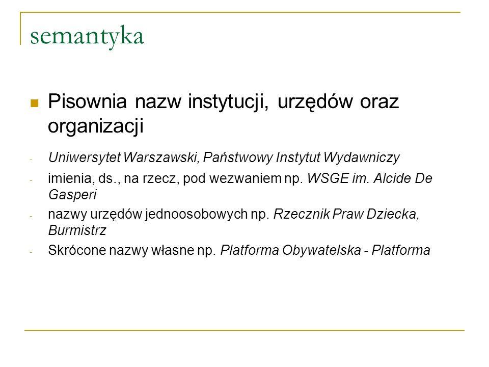 semantyka Pisownia nazw instytucji, urzędów oraz organizacji