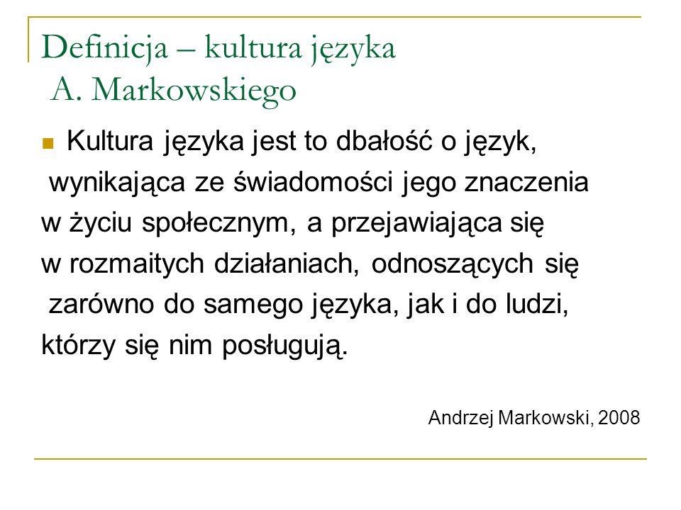 Definicja – kultura języka A. Markowskiego