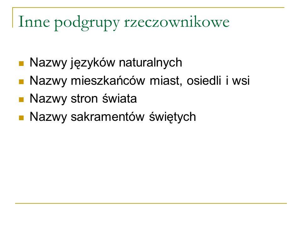 Inne podgrupy rzeczownikowe