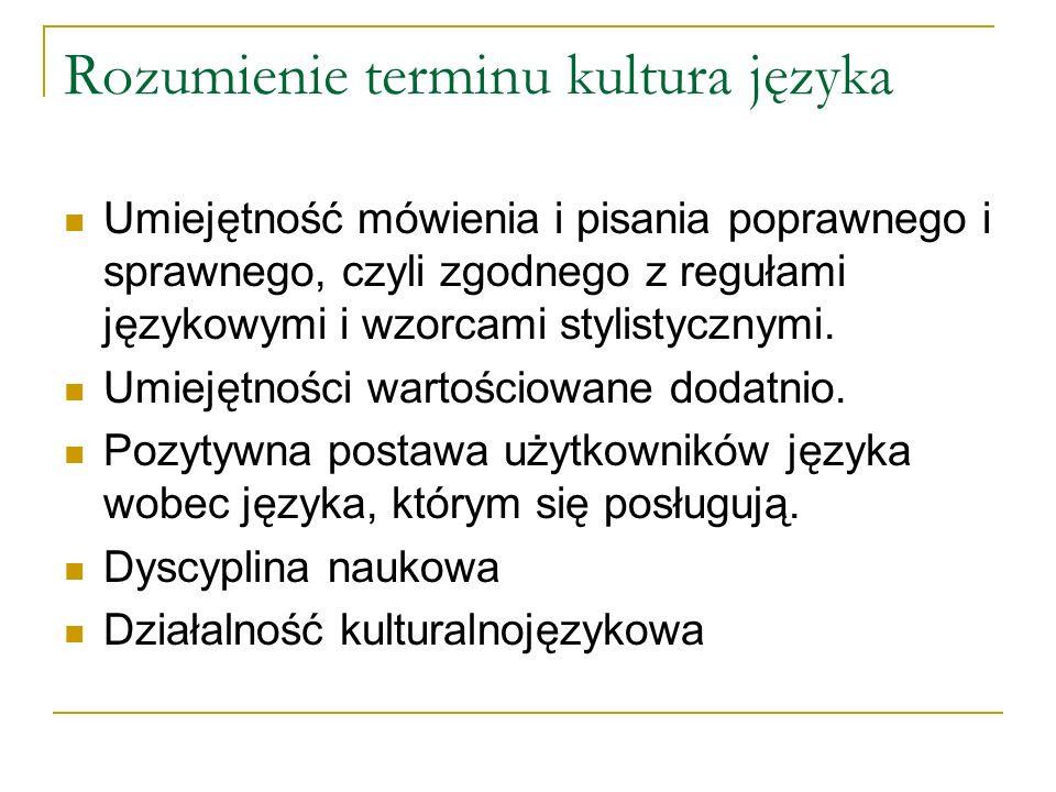 Rozumienie terminu kultura języka