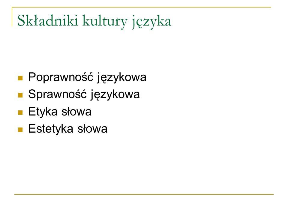 Składniki kultury języka