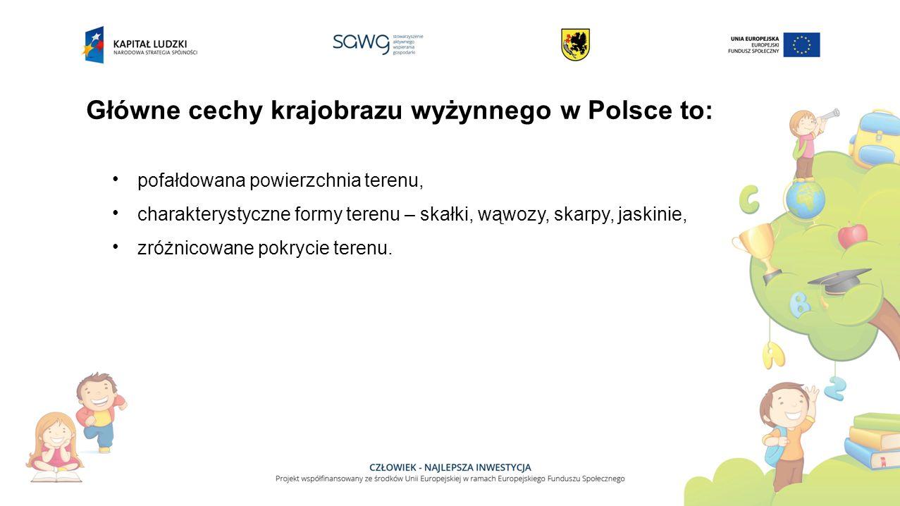 Główne cechy krajobrazu wyżynnego w Polsce to: