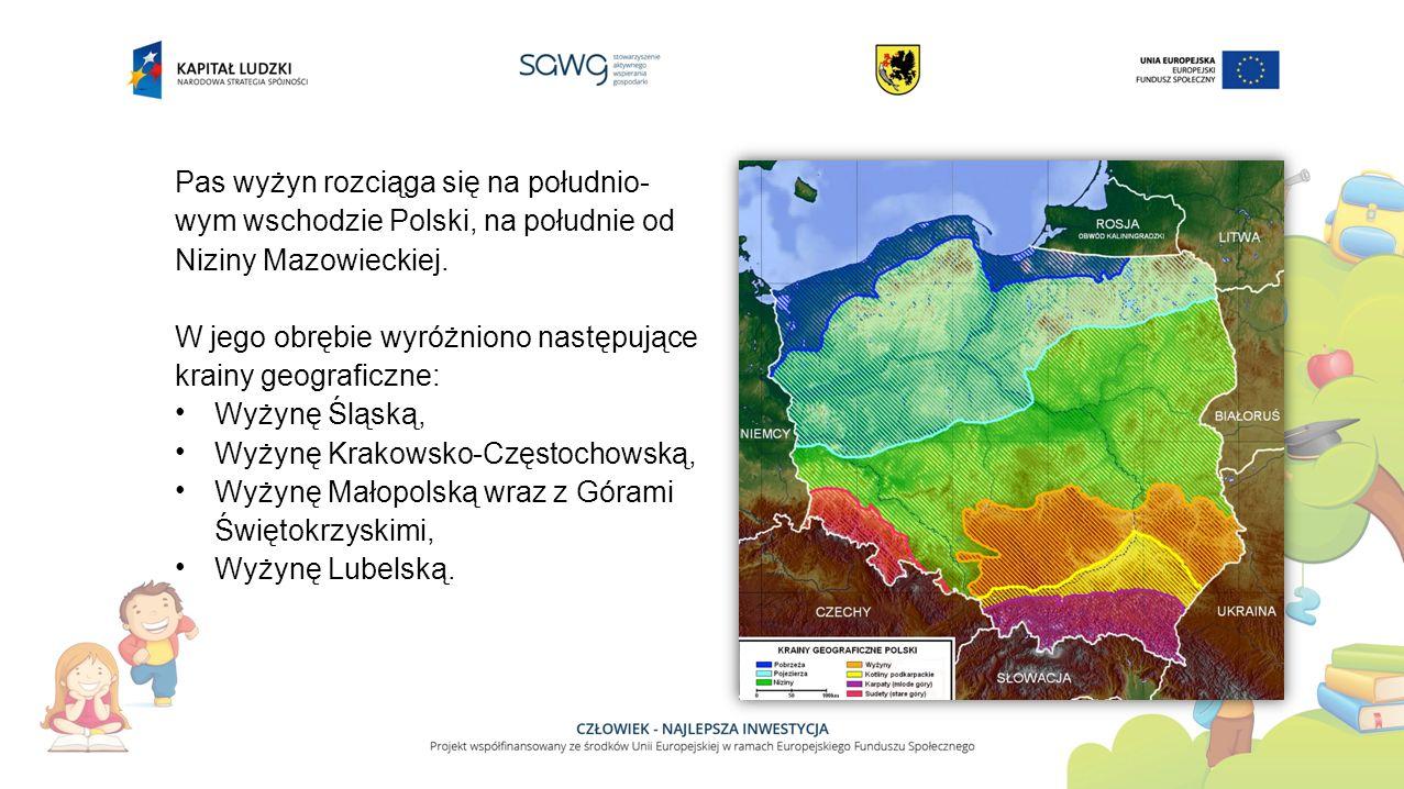 Pas wyżyn rozciąga się na południo-wym wschodzie Polski, na południe od Niziny Mazowieckiej.