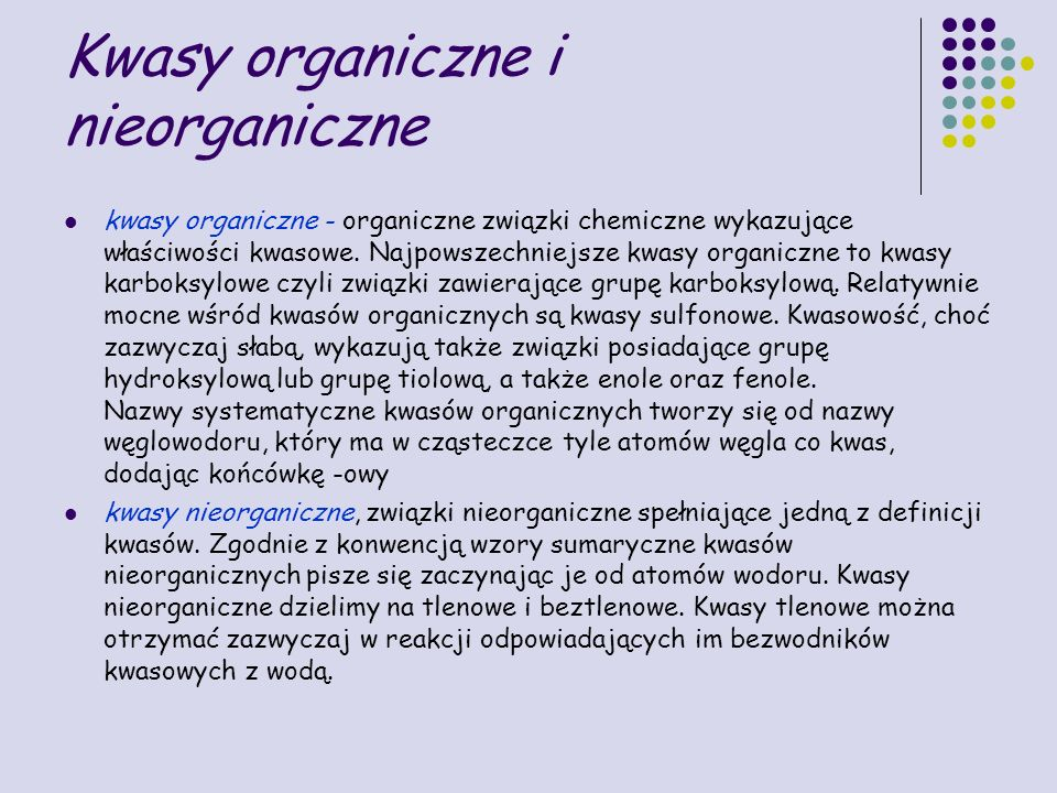 Kwasy organiczne i nieorganiczne