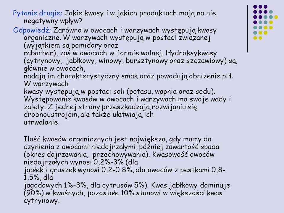 Pytanie drugie; Jakie kwasy i w jakich produktach mają na nie negatywny wpływ