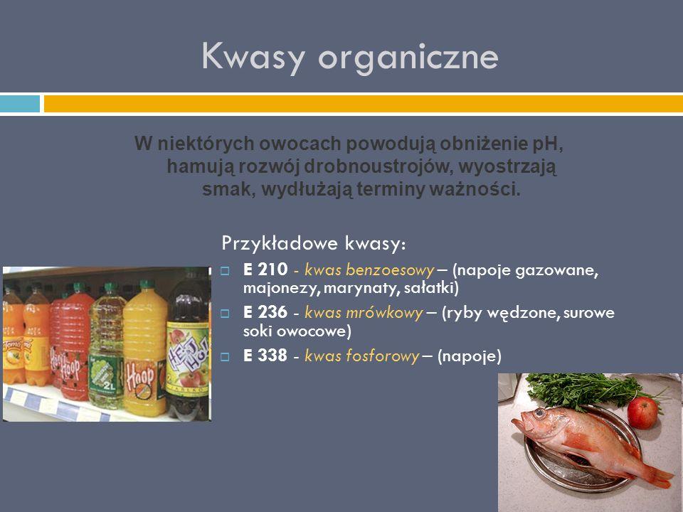 Kwasy organiczne Przykładowe kwasy: