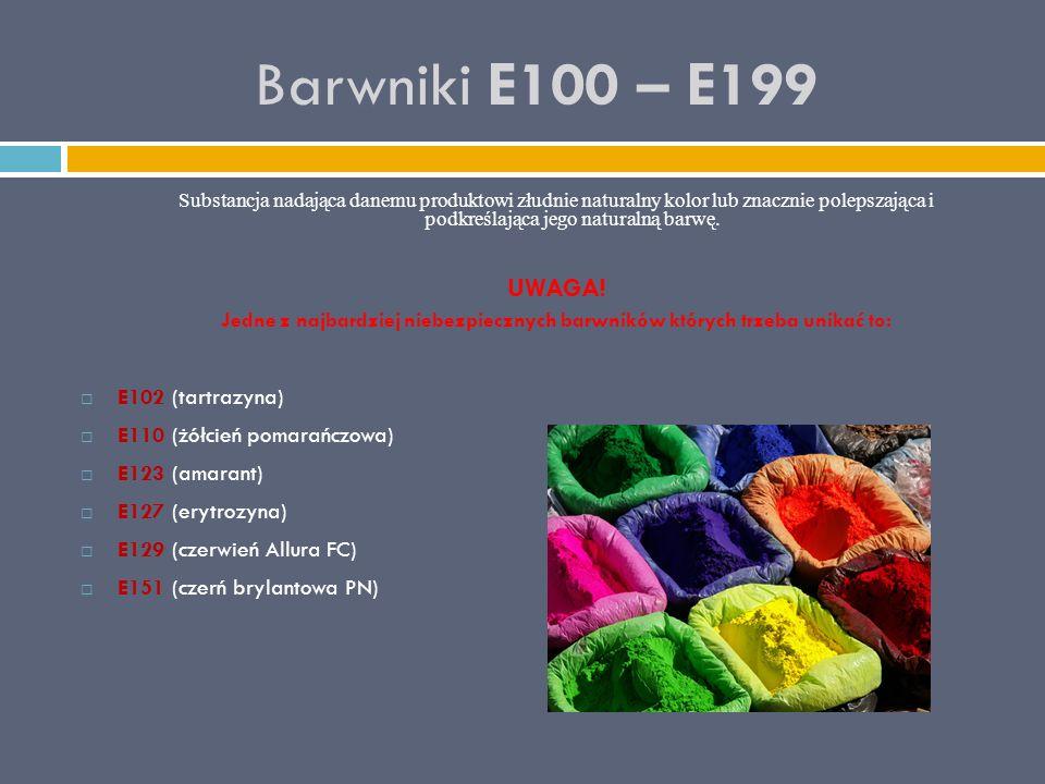 Barwniki E100 – E199 UWAGA! E102 (tartrazyna)
