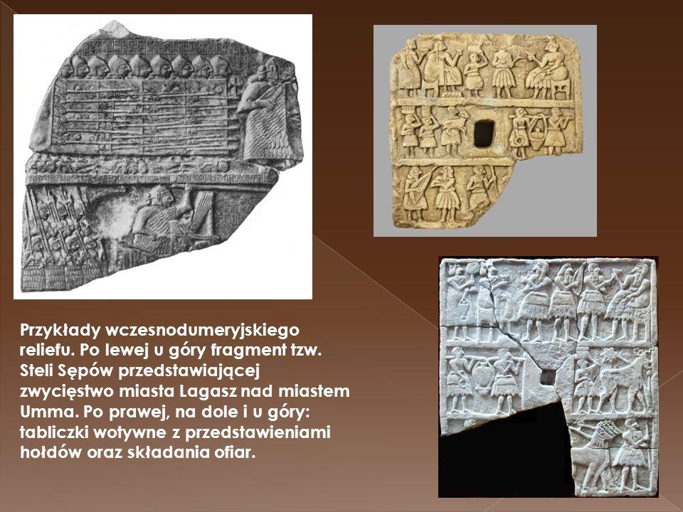 Przykłady wczesnodumeryjskiego reliefu. Po lewej u góry fragment tzw