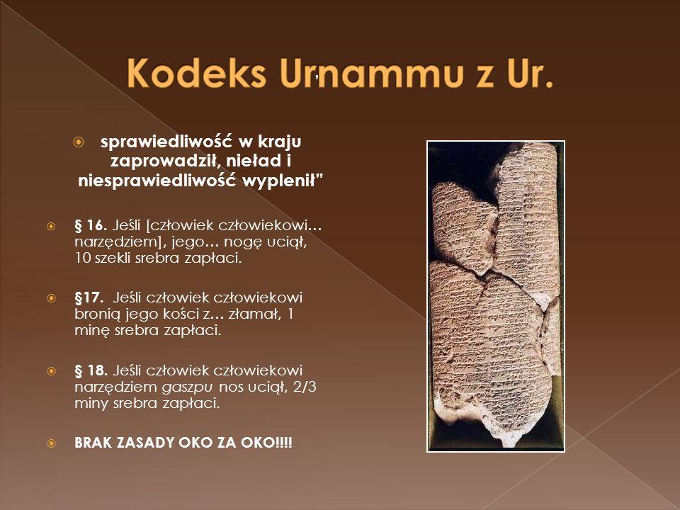 """Kodeks Urnammu z Ur. """" sprawiedliwość w kraju zaprowadził, nieład i niesprawiedliwość wyplenił"""
