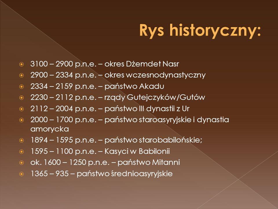 Rys historyczny: 3100 – 2900 p.n.e. – okres Dżemdet Nasr