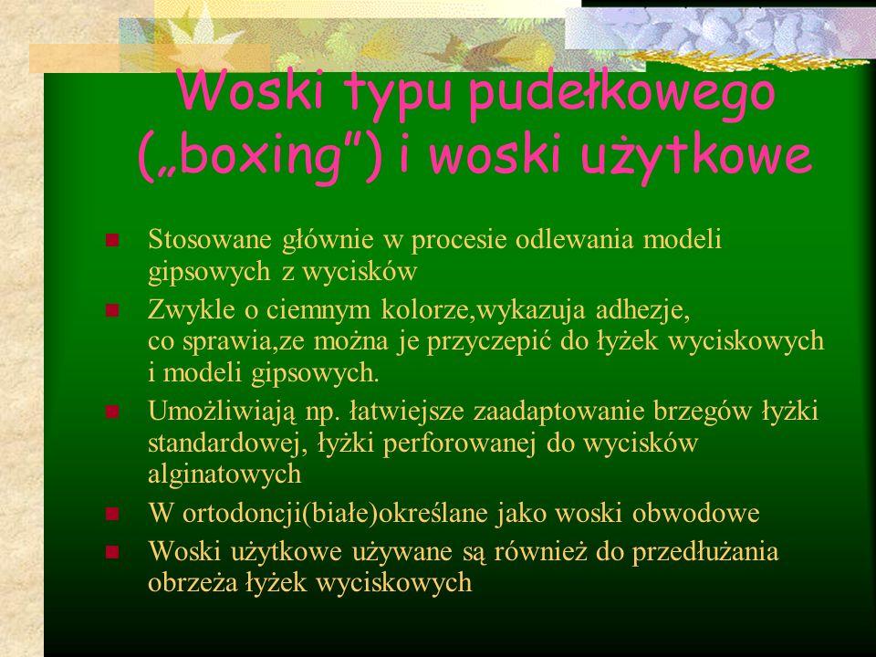 """Woski typu pudełkowego (""""boxing ) i woski użytkowe"""