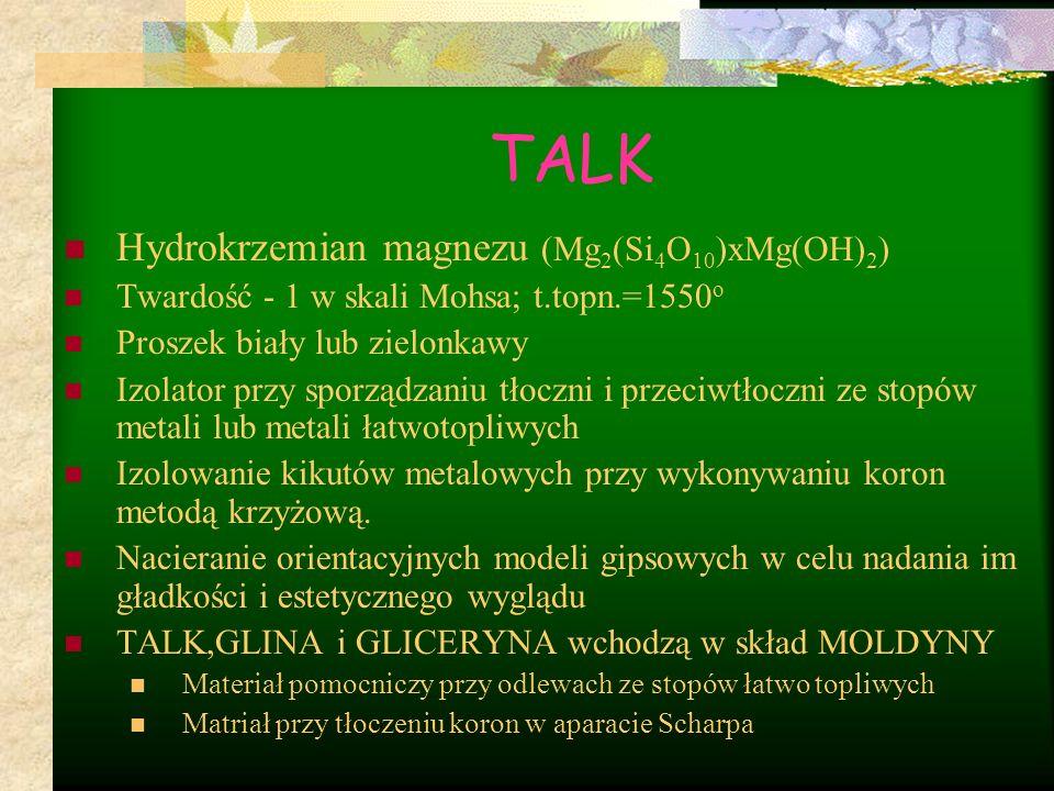 TALK Hydrokrzemian magnezu (Mg2(Si4O10)xMg(OH)2)