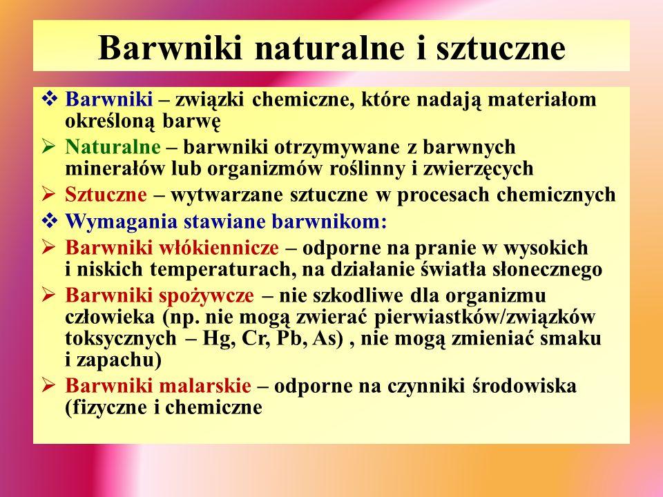 Barwniki naturalne i sztuczne