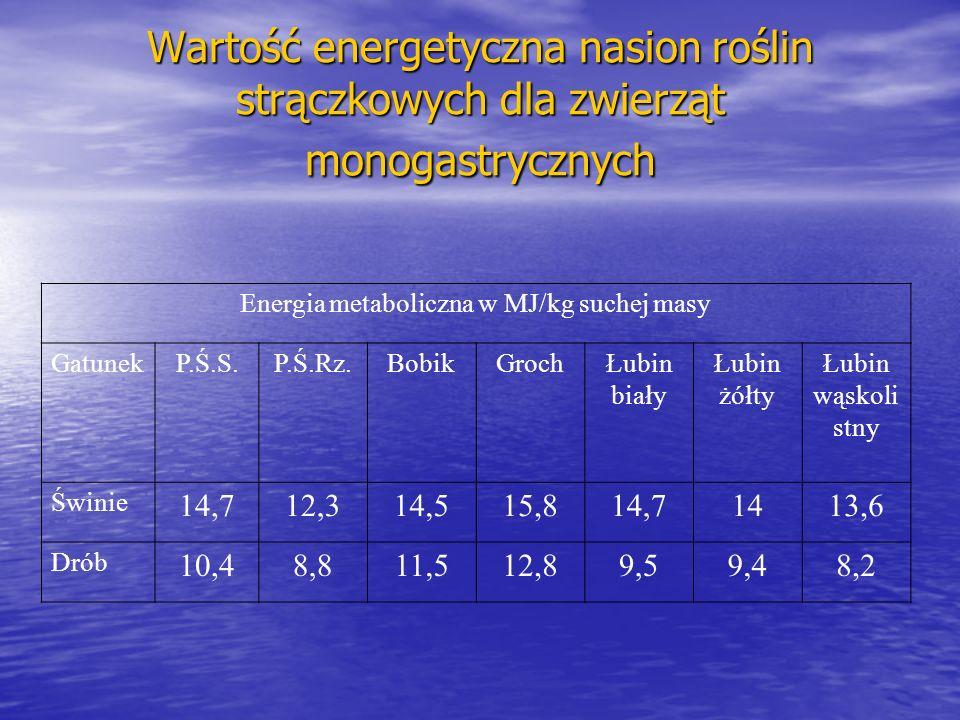 Energia metaboliczna w MJ/kg suchej masy