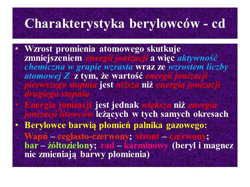 Charakterystyka berylowców - cd