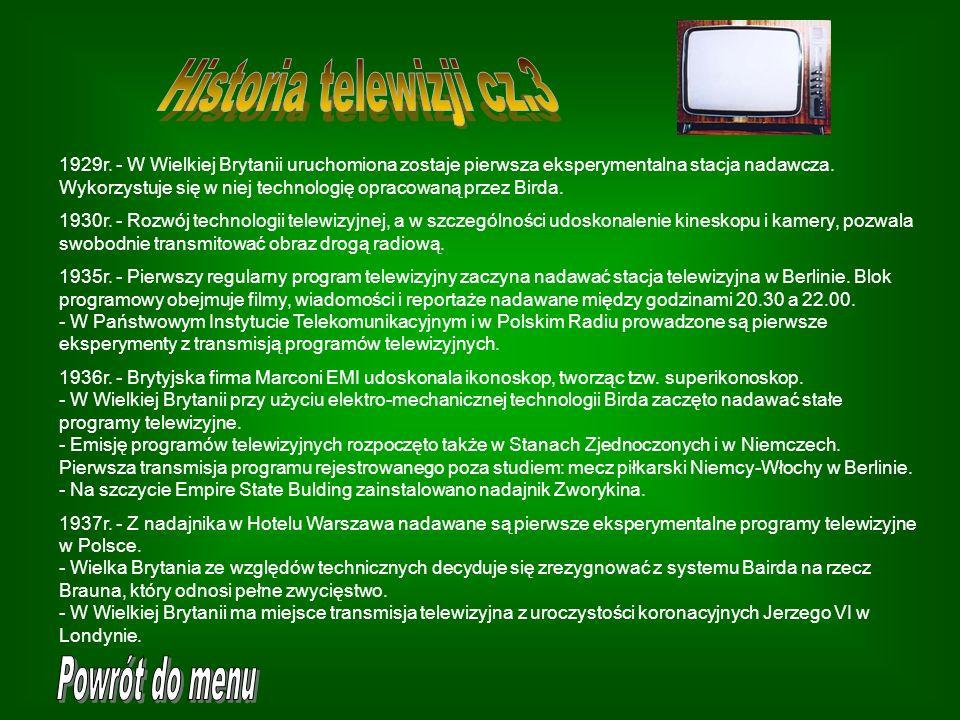 Historia telewizji cz.3 Powrót do menu