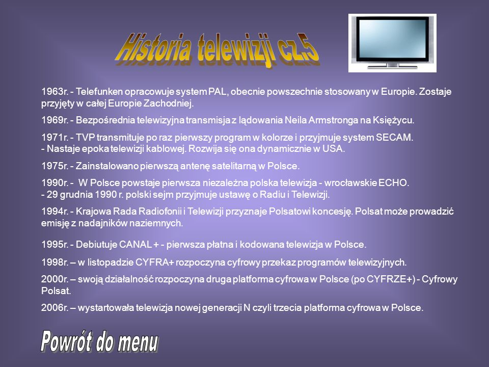 Historia telewizji cz.5 Powrót do menu