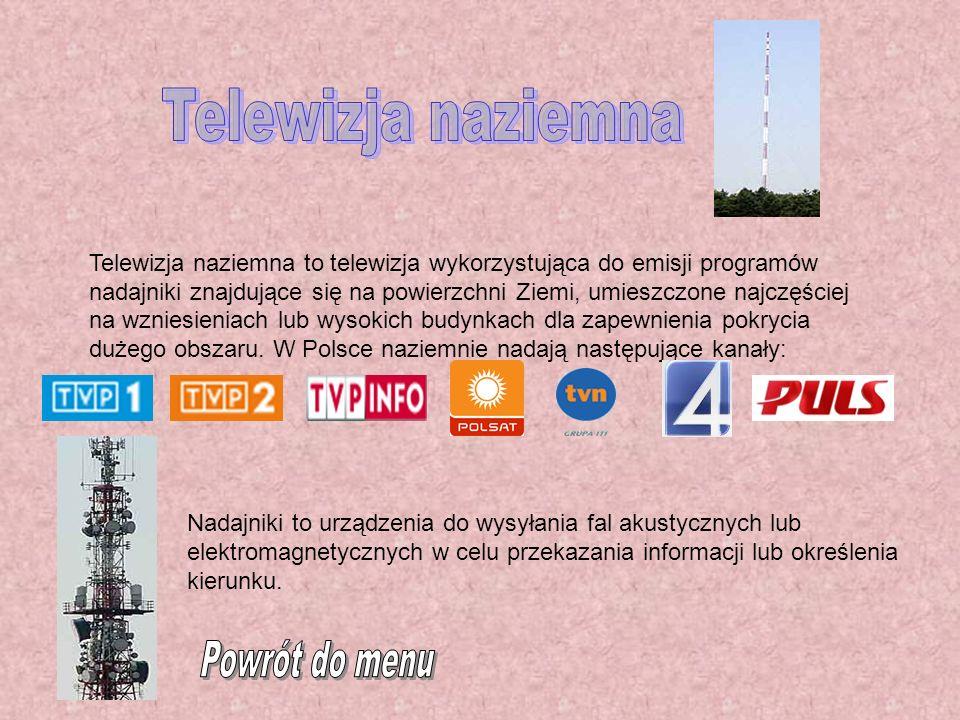 Telewizja naziemna Powrót do menu