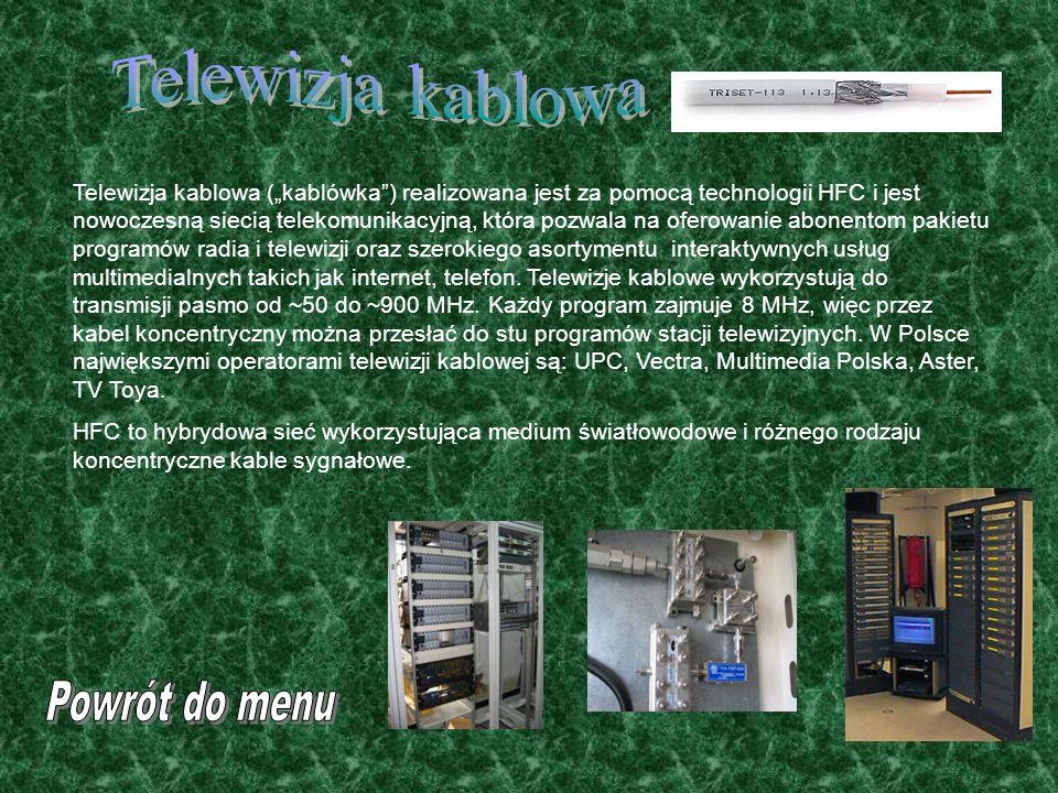 Telewizja kablowa Powrót do menu