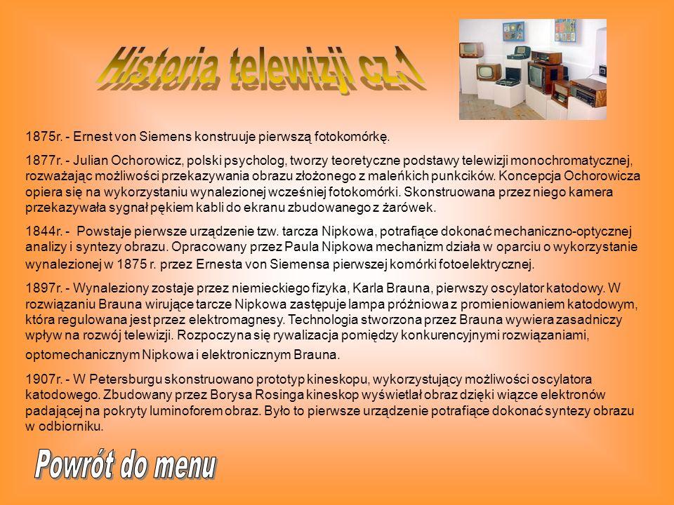Historia telewizji cz.1 Powrót do menu