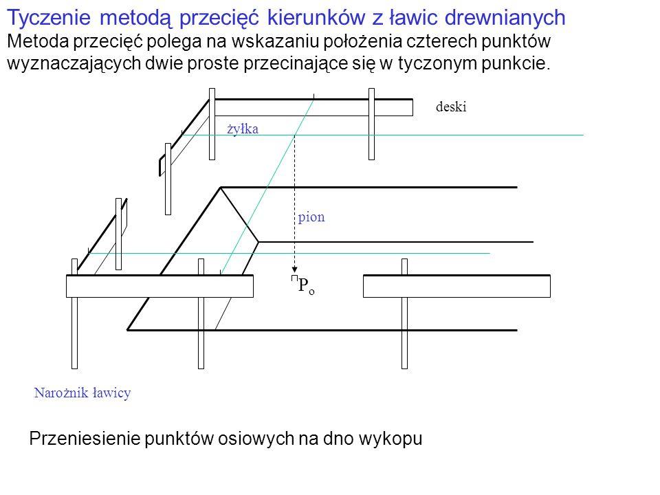 Tyczenie metodą przecięć kierunków z ławic drewnianych