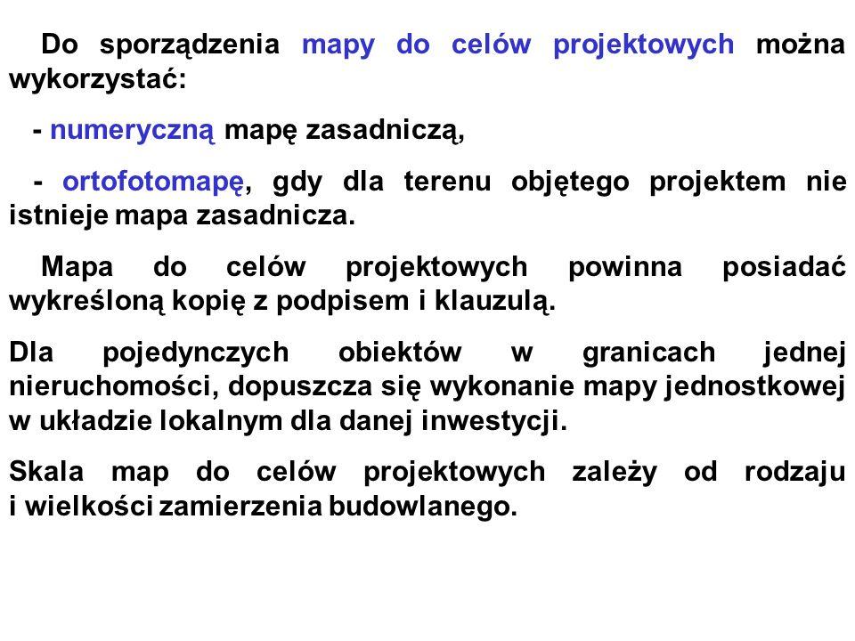 Do sporządzenia mapy do celów projektowych można wykorzystać: