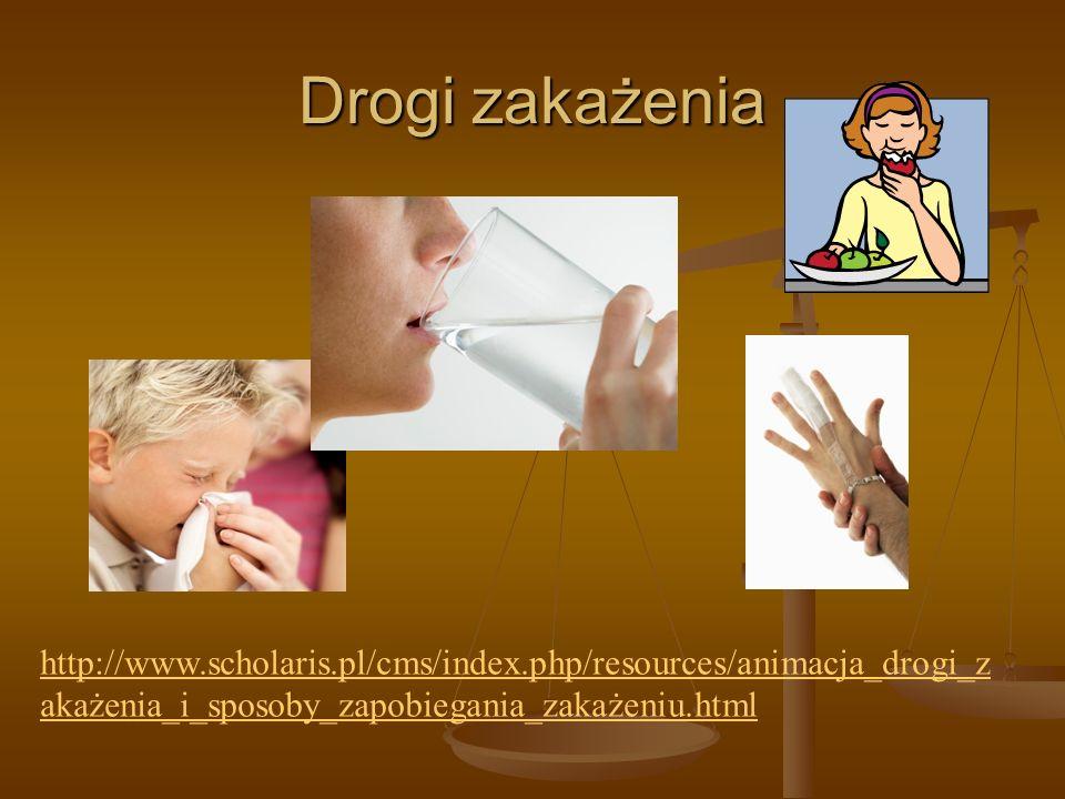Drogi zakażenia http://www.scholaris.pl/cms/index.php/resources/animacja_drogi_zakażenia_i_sposoby_zapobiegania_zakażeniu.html.