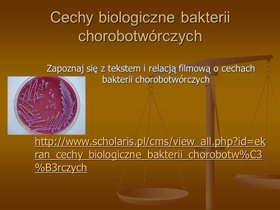 Cechy biologiczne bakterii chorobotwórczych