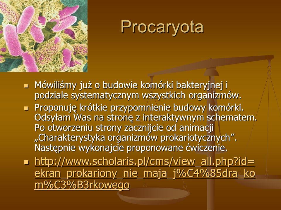 Procaryota Mówiliśmy już o budowie komórki bakteryjnej i podziale systematycznym wszystkich organizmów.
