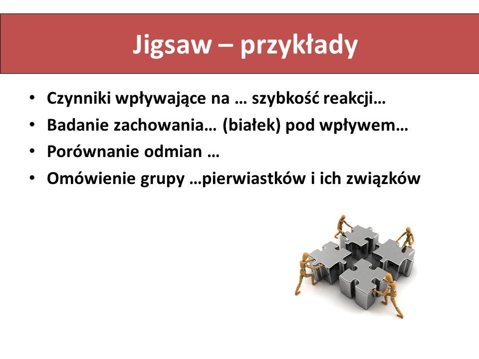 Jigsaw – przykłady Czynniki wpływające na … szybkość reakcji…