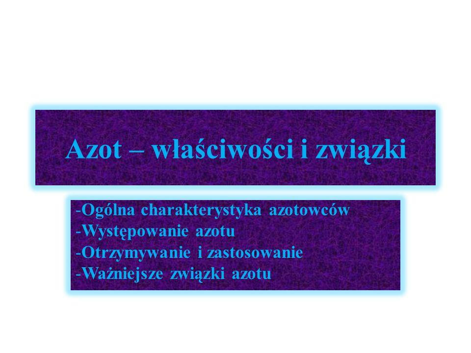Azot – właściwości i związki