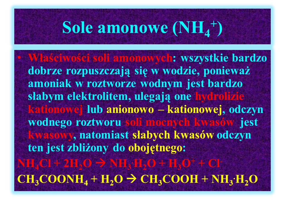 Sole amonowe (NH4+)