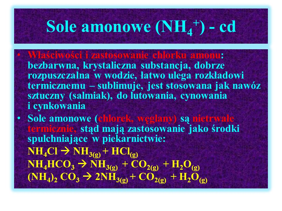 Sole amonowe (NH4+) - cd