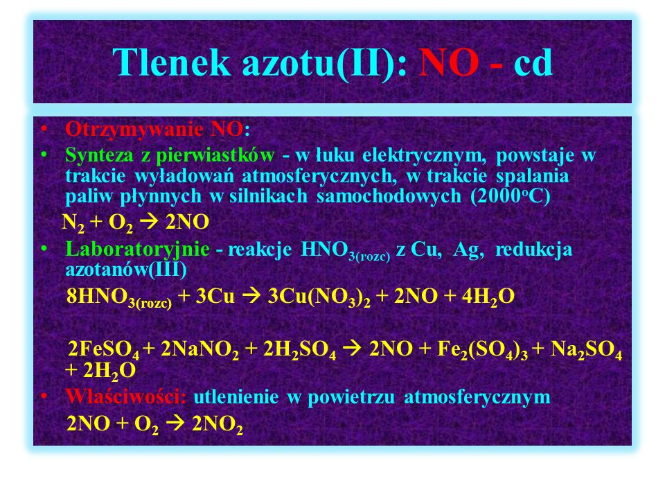 Tlenek azotu(II): NO - cd