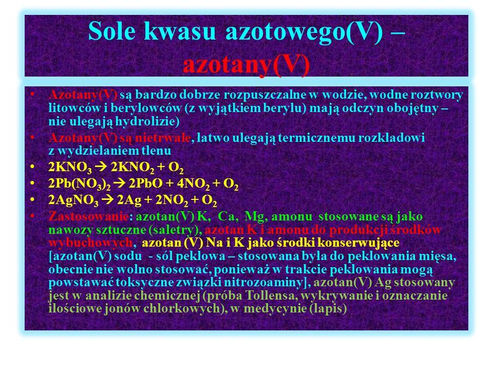 Sole kwasu azotowego(V) – azotany(V)