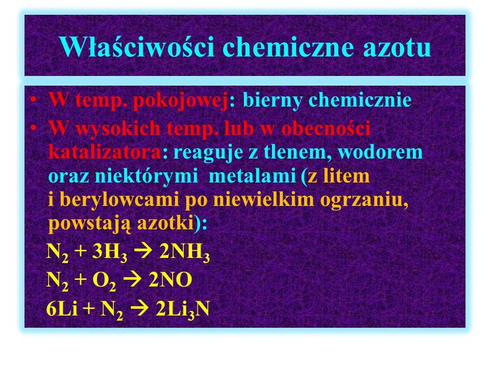 Właściwości chemiczne azotu