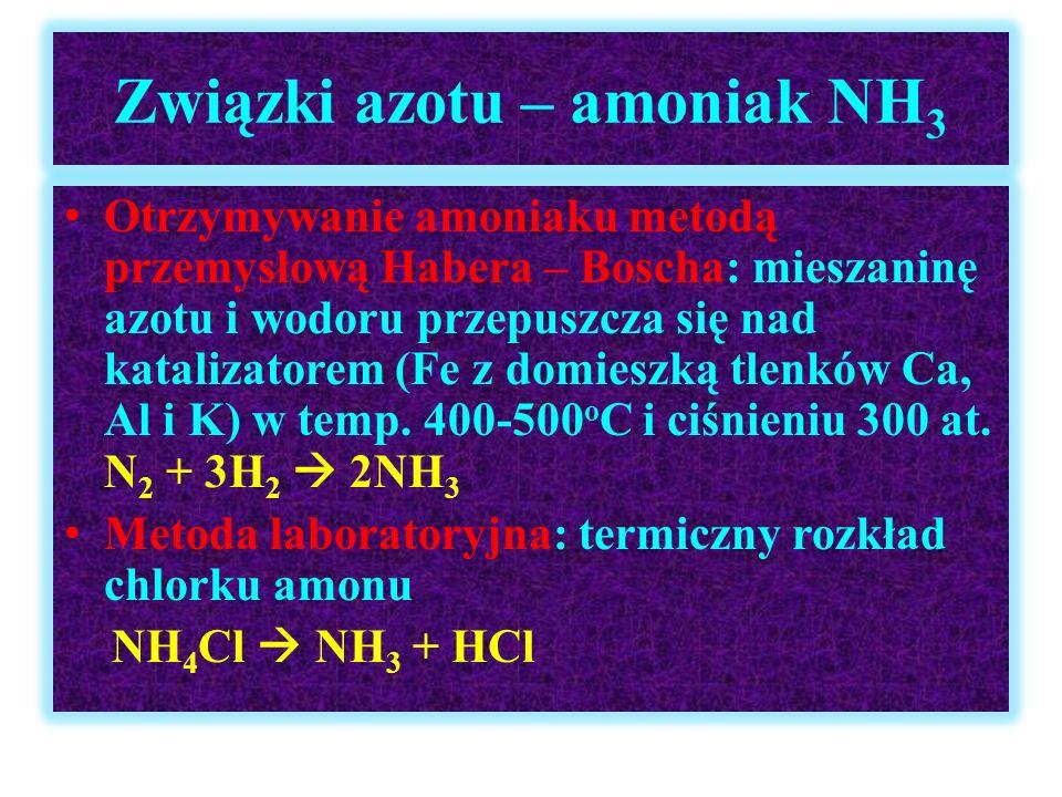 Związki azotu – amoniak NH3