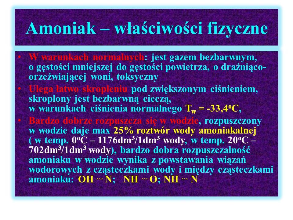 Amoniak – właściwości fizyczne