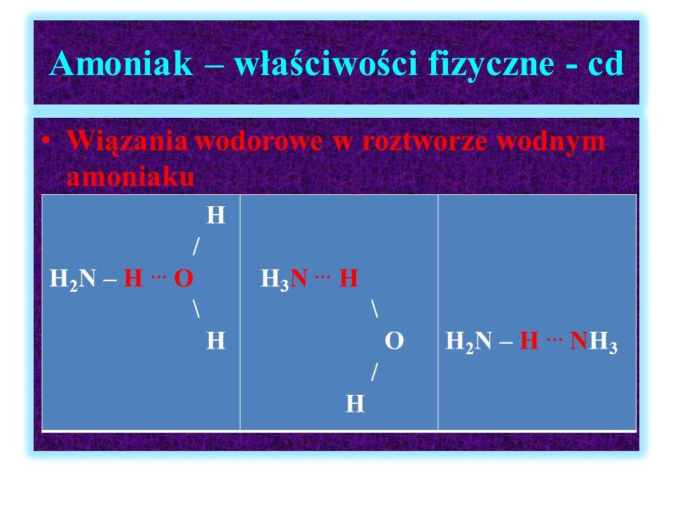 Amoniak – właściwości fizyczne - cd