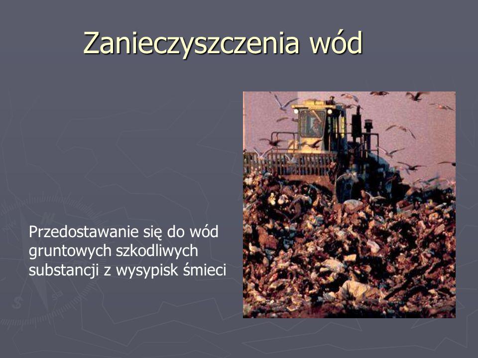 Zanieczyszczenia wód Przedostawanie się do wód gruntowych szkodliwych substancji z wysypisk śmieci
