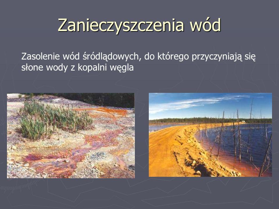 Zanieczyszczenia wód Zasolenie wód śródlądowych, do którego przyczyniają się słone wody z kopalni węgla.