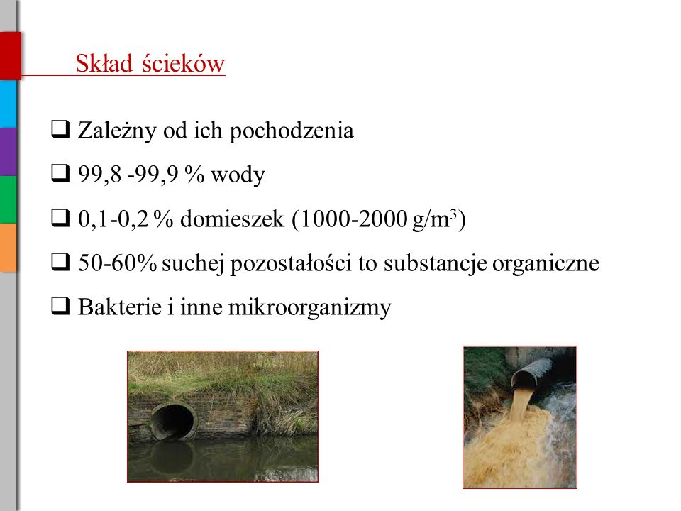 Skład ścieków Zależny od ich pochodzenia 99,8 -99,9 % wody